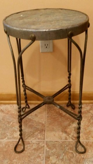 Vintage Mcm Twisted Wrought Iron Stool/ice Cream Stool,  Wood Seat,  24&1/4