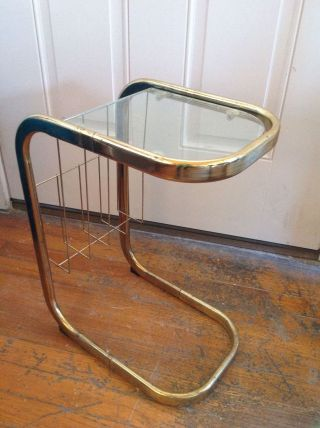 Vintage Mid Century Glass And Gold Brass Tone Side End Table photo