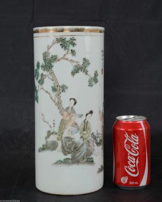 Antique Chinese Porcelain Brush Holder Pot Vase Enamel Beauties In Garden 28 Cm photo