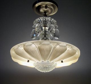 Vintage Art Deco Beige Sunflower Shade Ceiling Lamp Light Fixture Chandelier photo