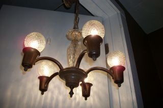 Antique Art Deco Chandelier Vintage Slip Shade 5 Light Fixture 1920s Glass Body photo