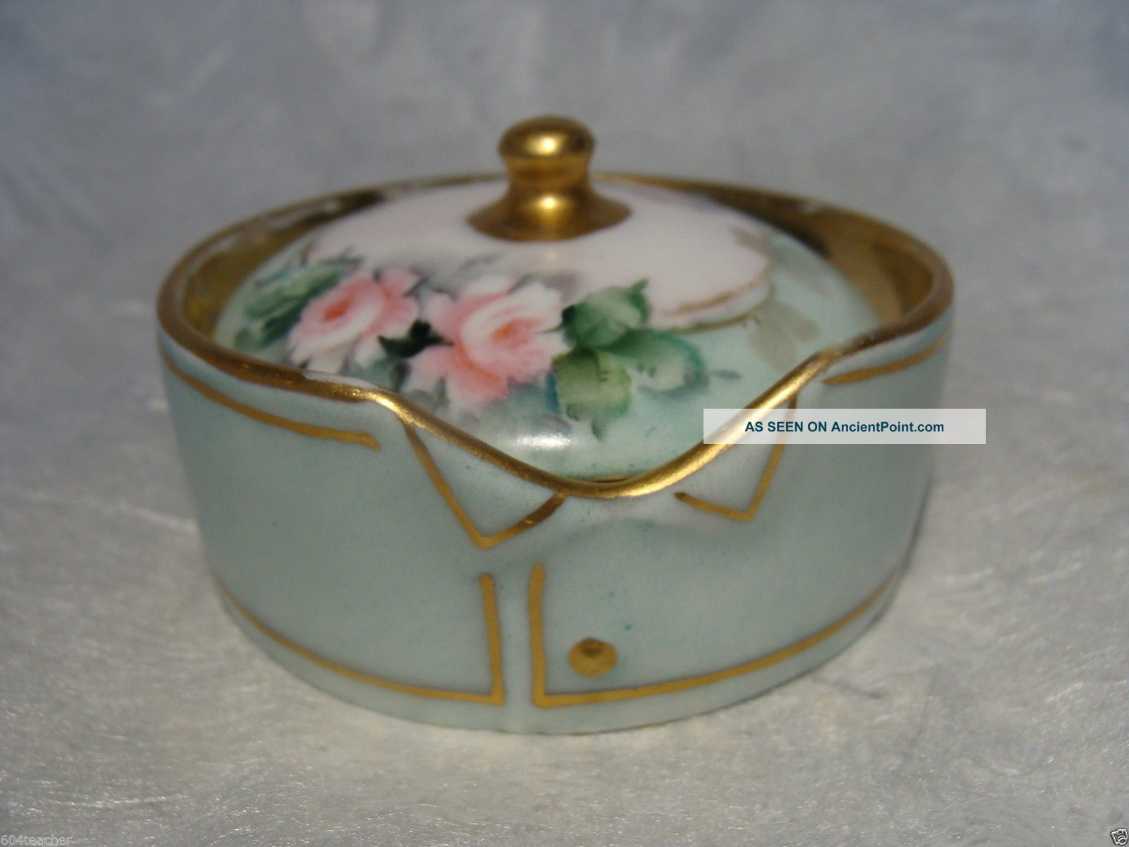 1913 Germany Hand Painted Porcelain Stud Collar Button Box Rosenthal German Baskets & Boxes photo