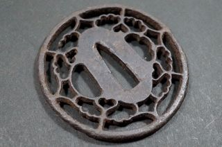 393 Japanese Antique Tsuba Of Sword Samurai Edo Period Iron