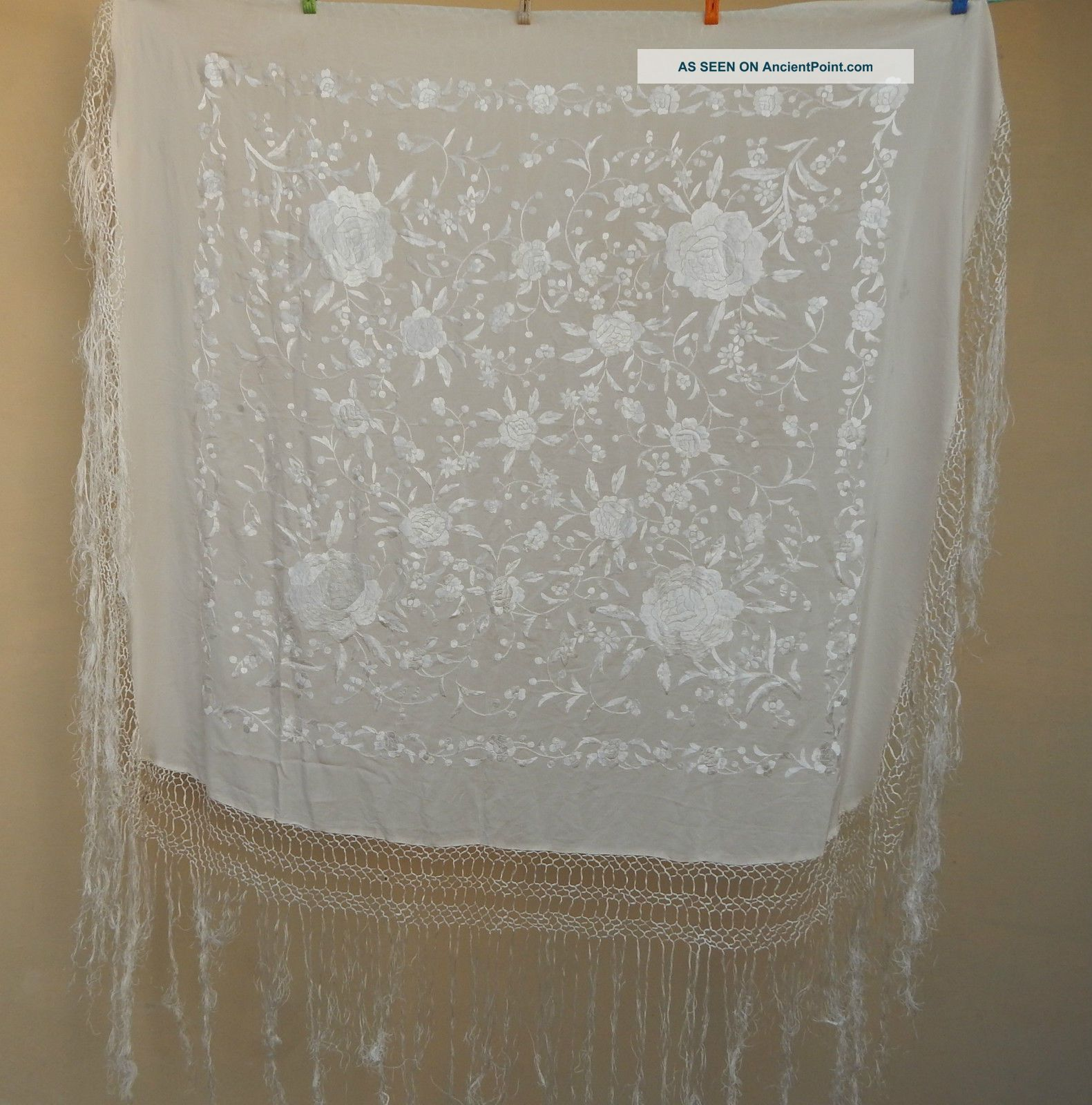 Antique Chinese Hand Embroidered Silk Piano Shawl Ps50 Textiles photo