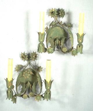 Mid Century Italian Green Tole Double Arm Floral Sconces photo