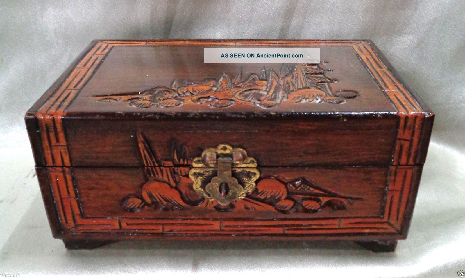 Chinese Antique Wooden Carved Jewelry Box W/ Oriental Landscape Designs - 4x8x5