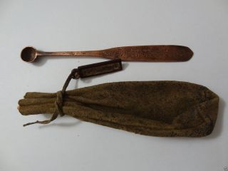 Antique Mongolian Buddhist Lama ' S Medicine Pouch With Spoon photo