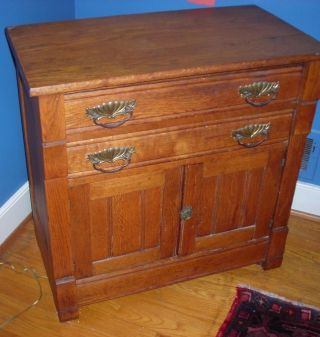Antique Small Oak Cabinet / Cupboard With 2 Drawers photo