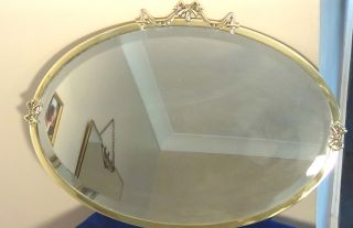 A Edwardian Brass Framed Wall Mirror,  Circa - 1900.  Uk P&p photo