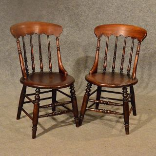 Antique Elm Windsor Chairs Top Quality English Victorian Kitchen C1870 photo