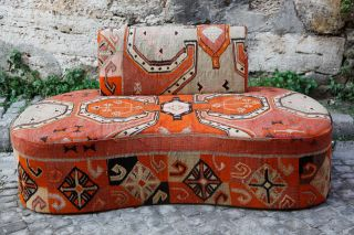 Unique Decorative Hadndame Kilim Upholstery Vintaga Turkish Sofa Aaaaa photo