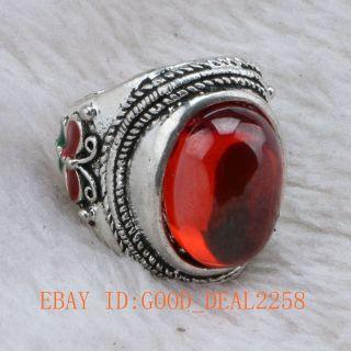 Chinese Handwork Tibet Silver Cloisonne Mosaic Natural Zircon Ring photo