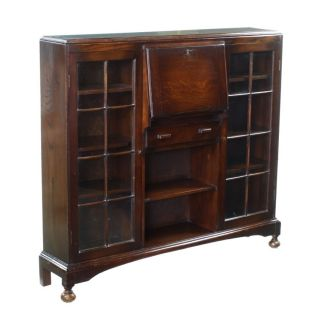 Glazed Oak Art Deco Display Cabinet Writing Table Desk Bureau Bookcase 1900 - 1950 photo