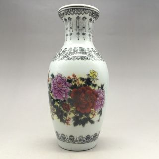 Chinese Ceramic Painting By Hand Peony & Butterfly Vase photo