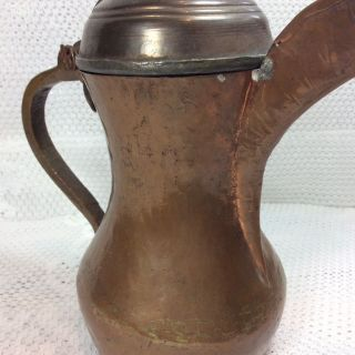 Antique Middle Eastern Dallah Hand Hammered Copper 20 Oz Coffee Pot.  Tin Lined photo