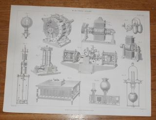 C1880 Antique Print Of Electric Light Electricity Early Light Bulb photo
