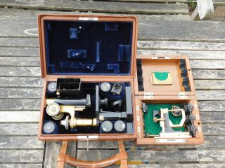 Rare Carl Zeiss Jena Leather Cased Travelling Field Microscope photo