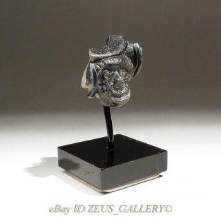 Ancient Greek Theater Mask Comedy Facing Head Blackware Pottery 300 Bc photo
