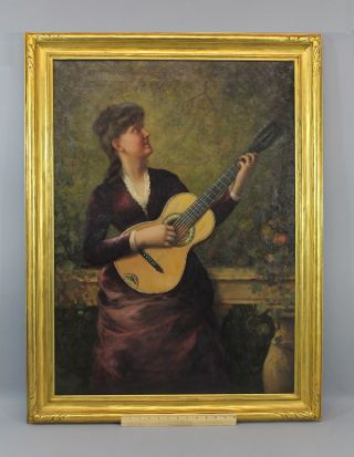 Antique O/c Oil Painting Young Lady Singing & Playing Parlor Acoustic Guitar Nr photo