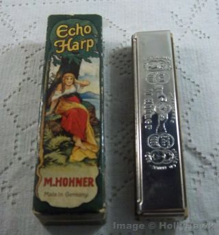 Vintage Harmonica The Echo Harp M.  Hohner,  Germany Bell Metal Reeds W/ Orig.  Box photo