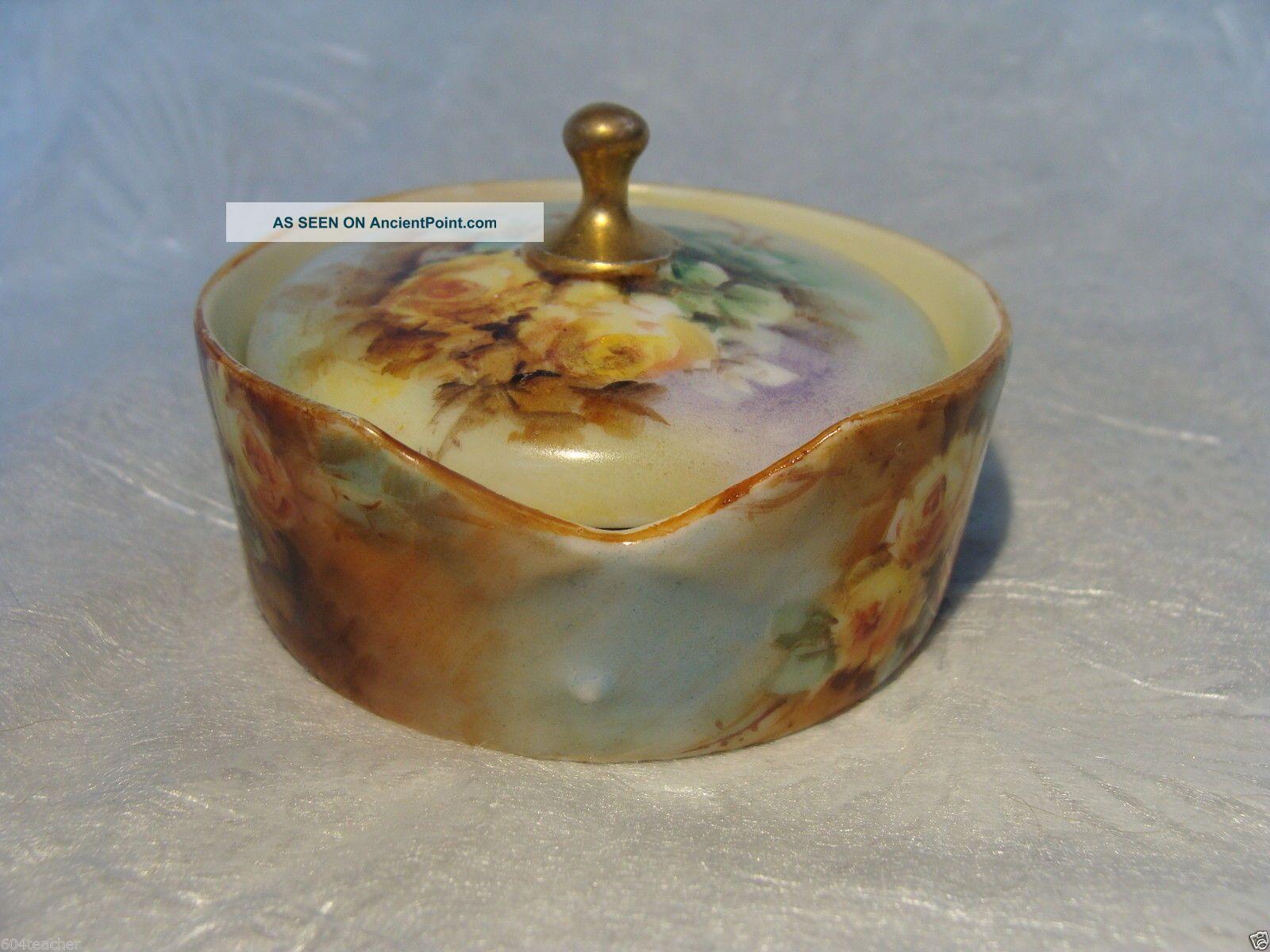 Antique German Bavaria Hand Painted Porcelain Stud Collar Button Box Germany Rc Baskets & Boxes photo
