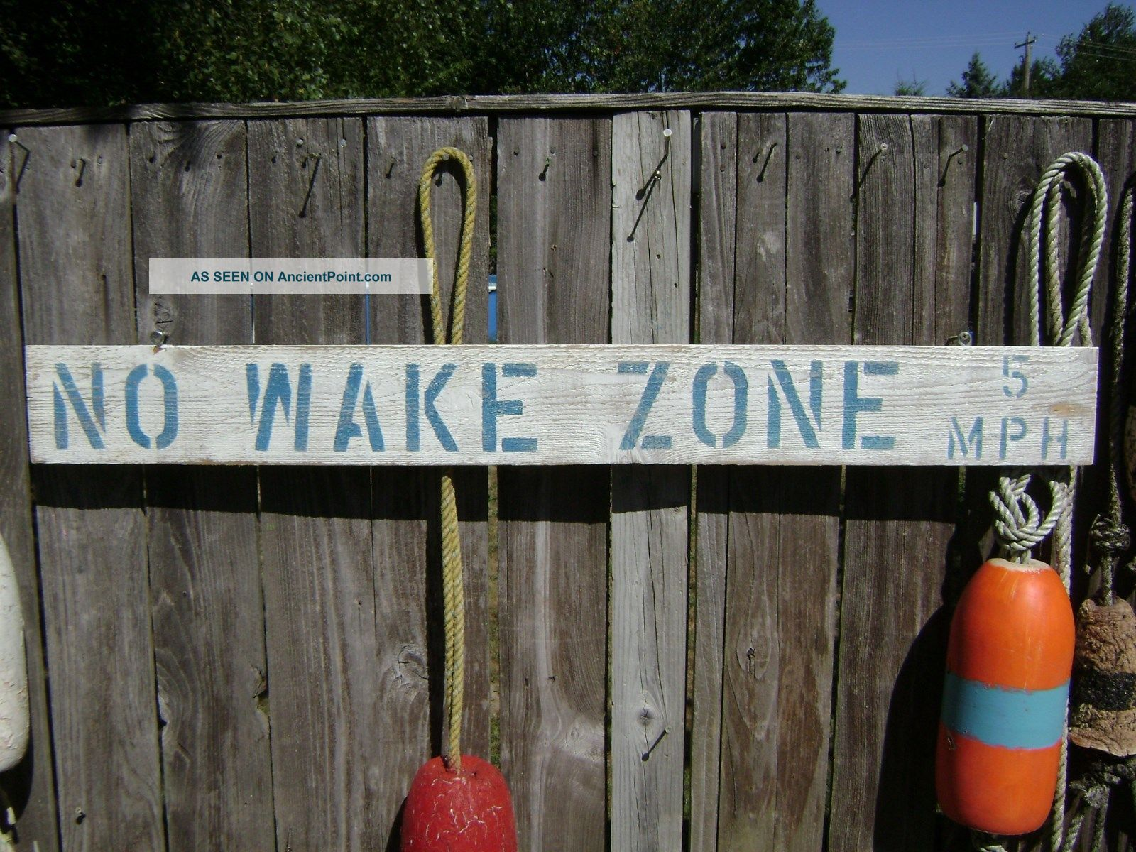 48 Inch Wood Hand Painted No Wake Zone 5mph Sign Nautical Seafood (s243) Plaques & Signs photo