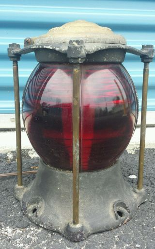 Antique Armspear Mfg.  Co.  N.  Y.  Top Bridge Pier Ship Lantern Red Globe Work ' S Rare photo