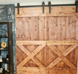 11 Ft Country Classic Double Sliding Barn Door Hardware Kit,  100 Steel photo