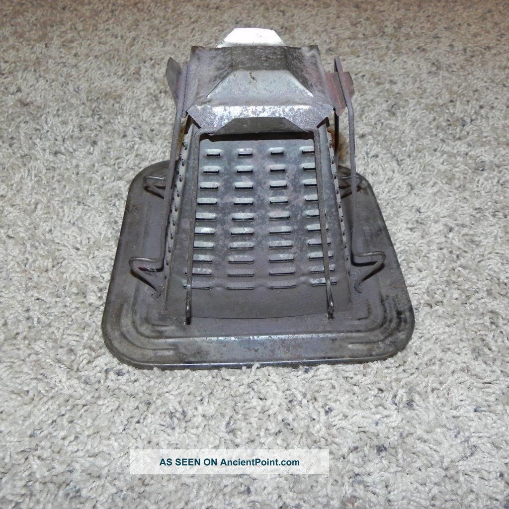 966 Vintage Metal Pyramid 4 Slice Toaster Camp Fire Camping Old Antique Toasters photo