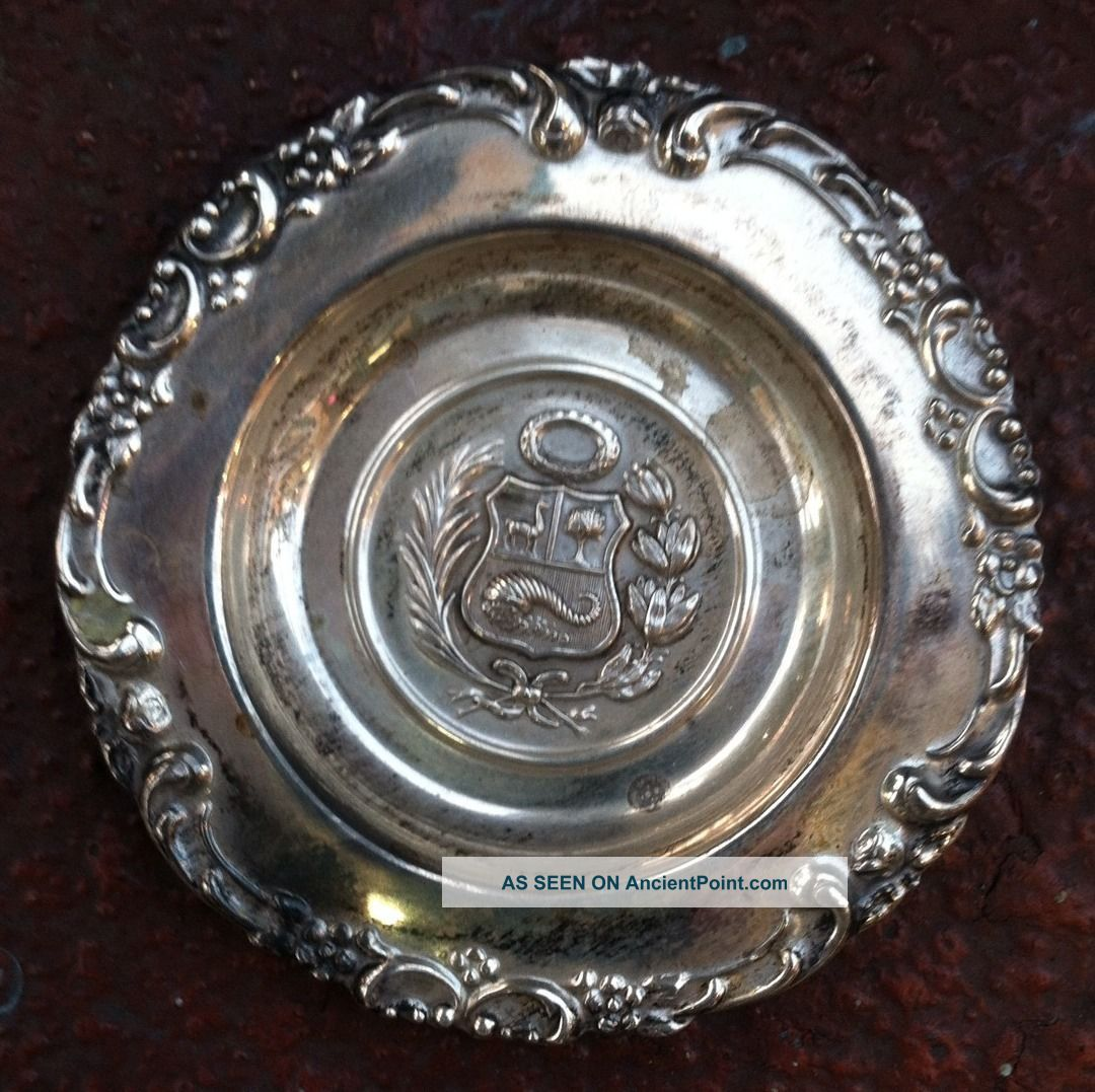 Antique Peru Sterling Silver 925 Coin Pin Trinket Tray Dish 23.  6g Scrap Or Use Other Antique Non-U.S. Silver photo