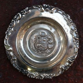 Antique Peru Sterling Silver 925 Coin Pin Trinket Tray Dish 23.  6g Scrap Or Use photo