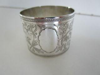 Victorian Sterling Silver Napkin Ring.  Hallmarked Sheffield 1889. photo