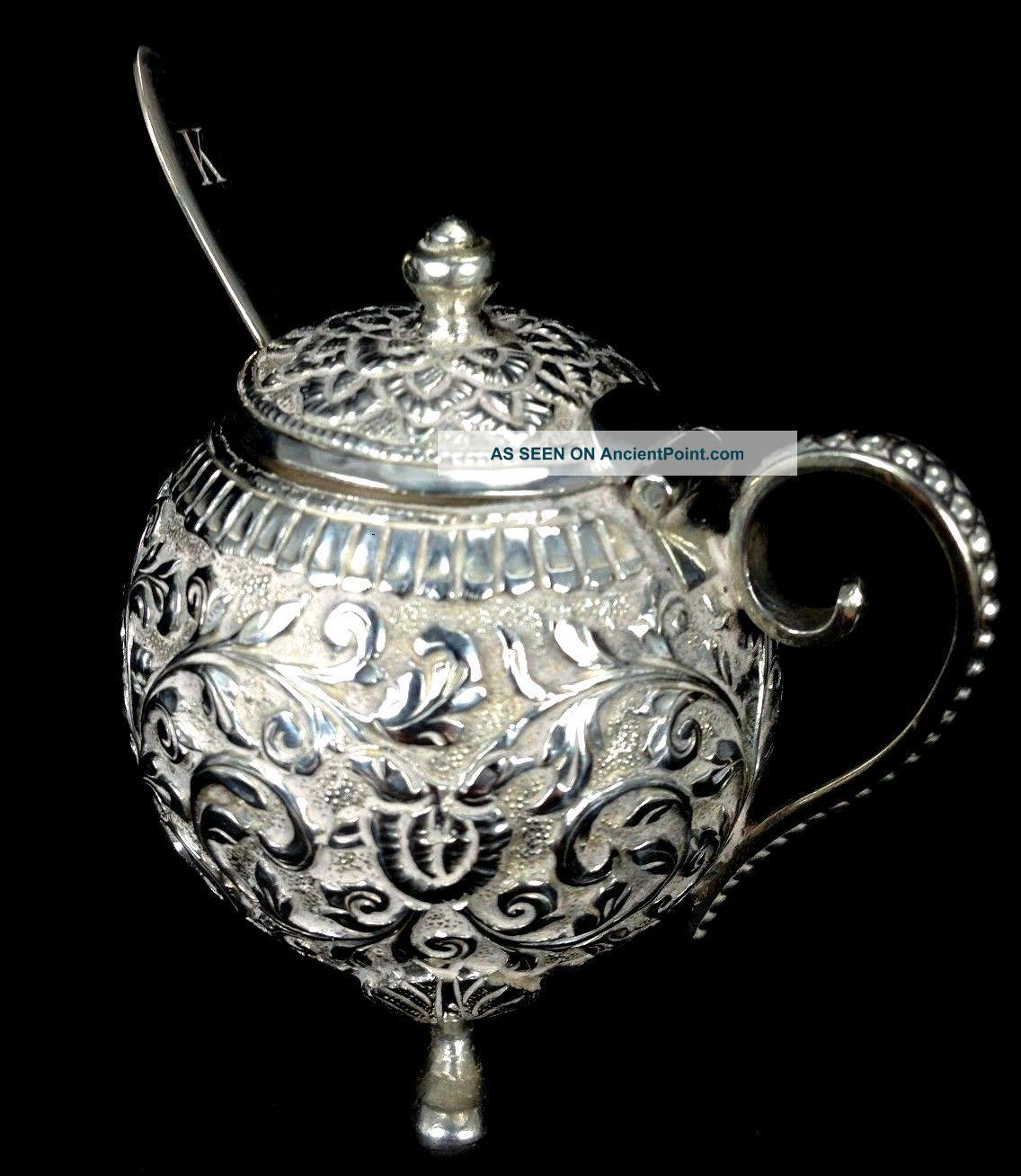 Magnificent Antique Victorian Sterling Silver Teapot Shape & Spoon Salt Cellar Salt Cellars photo