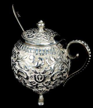 Magnificent Antique Victorian Sterling Silver Teapot Shape & Spoon Salt Cellar photo