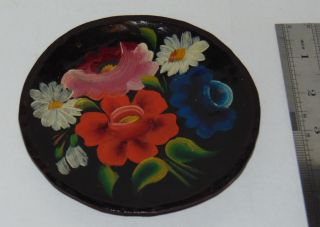 Small Handpainted & Carved Wooden Plate Romany/canal Art photo