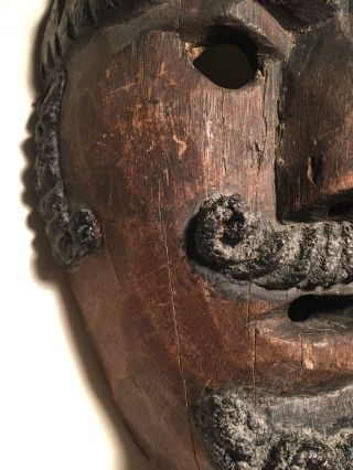 Antique Guatemalan Wooden Dance Mask Ethnographic W/patina San Simon/maximon photo
