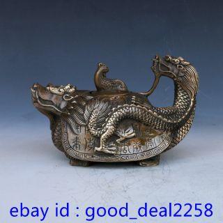 Chinese Bronze Handwork Dragon Turtle Tea Pot W Kangxi Mark photo