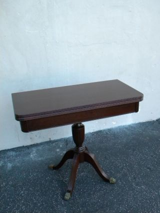 Mahogany Convertible Card Table Console Table 3958 photo