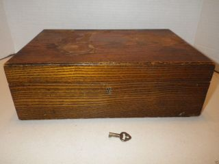 1800 ' S Antique Wood Wooden Portable Folding Travel Lap Writing Desk Box W/ Key photo