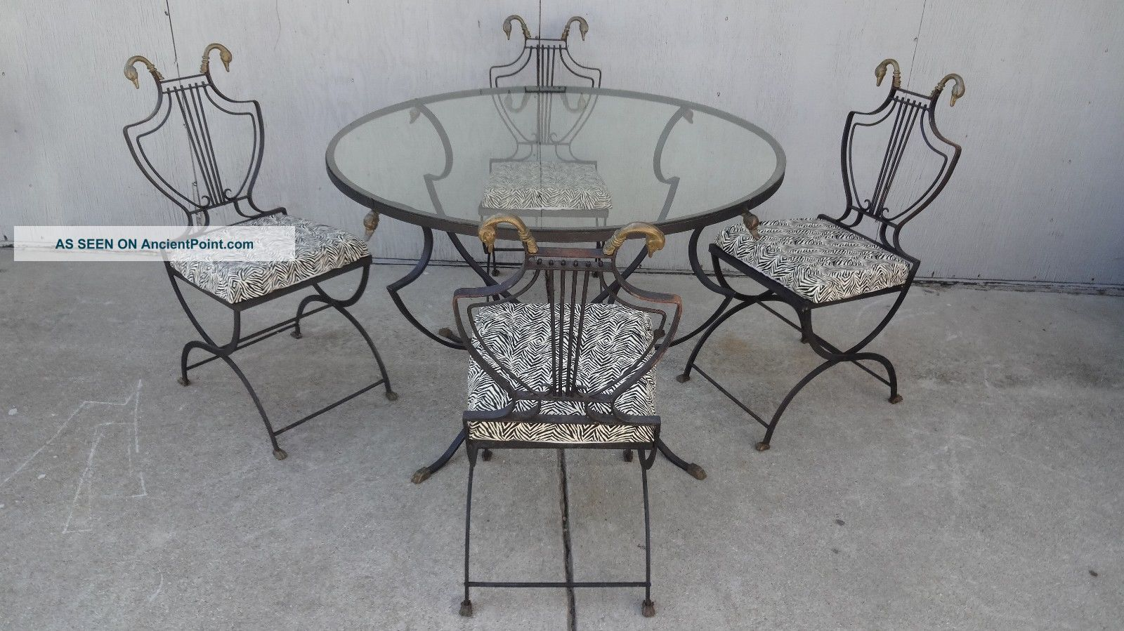 Samuel Copelon Iron Swan Dining Table Chair Neoclassical Lyre Patio Regency Vtg 1900-1950 photo
