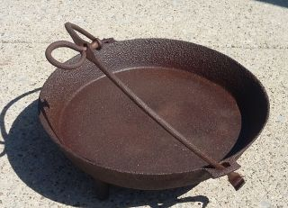 Antique Cast Iron 3 Legged,  Cooking Kettle W/ Bail photo