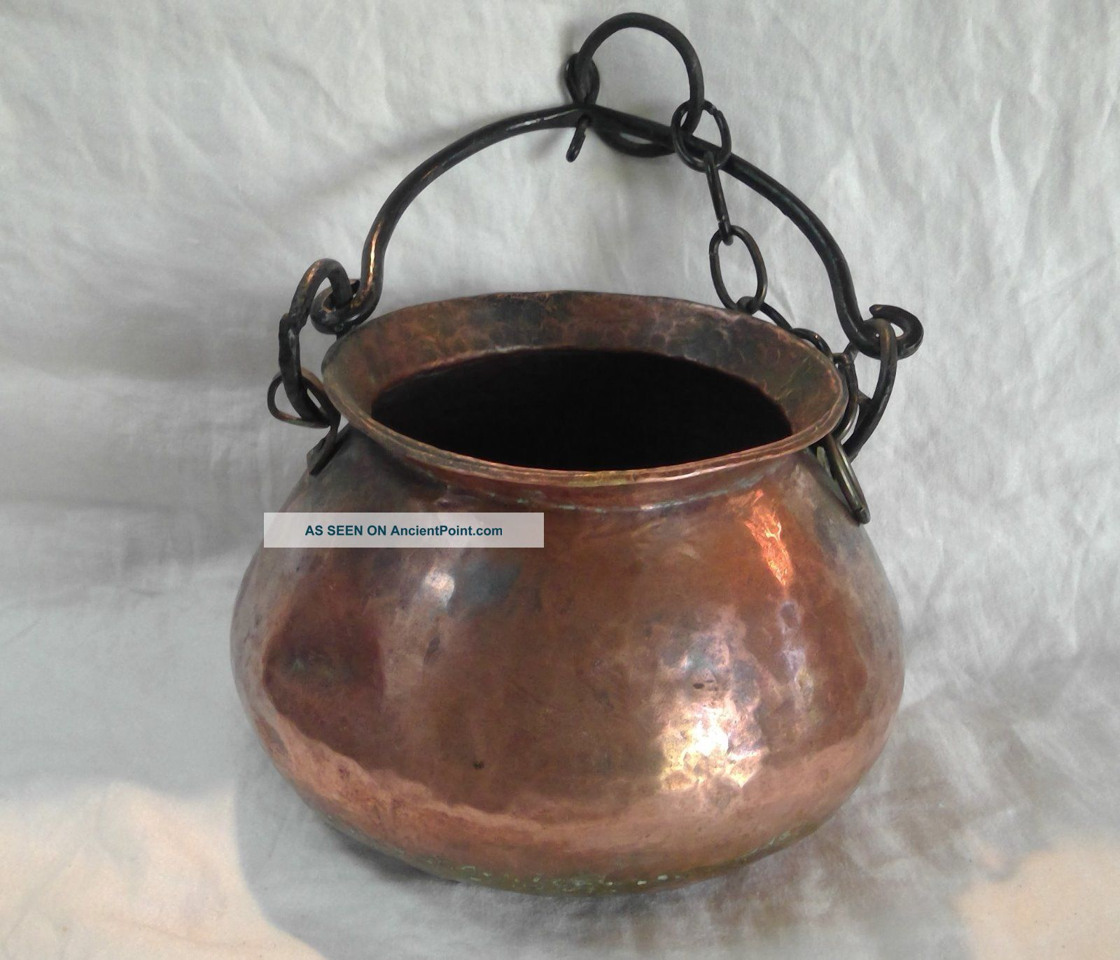 Vintage Hand Forged Hammered Copper Hanging Pot Hearth Ware photo