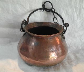 Vintage Hand Forged Hammered Copper Hanging Pot photo