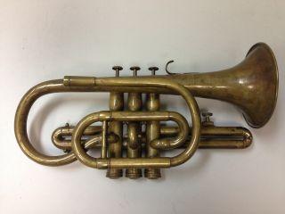 Antique Limonaire Raw Brass Military Style Cornet C.  Mid 1800 ' S photo