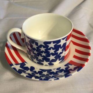 Mayfair Fine Bone China Tea Cup & Saucer - Staffordshire England - Usa Flag Red photo