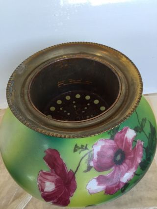 Vintage Kerosene Lamp Flowers Hand Painted 1900 Century photo