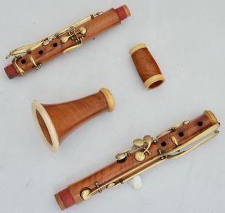 Antique Boxwood French B Flat Clarinet Noe Freres 13 Brass Keys C.  1860 photo