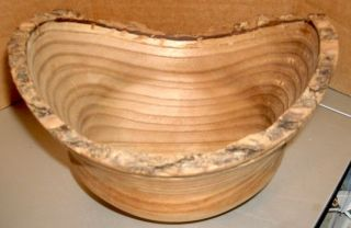 Handcrafted Round Catalpa Wood Bowl,  Signed Ron Techune '01,  Oval - Shaped Rim photo
