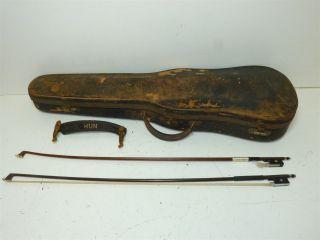 Antique Repaired In 1915 Full Size 4/4 Scale Amati Copy Violin W/ Case & 2 Bows photo