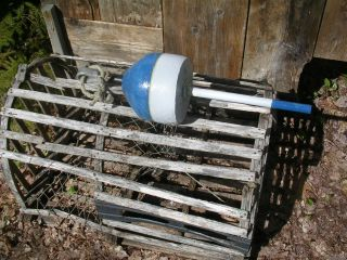 Maine Acorn Blue White Lobster Trap Buoy Pot Bouy Float Crab Shrimp Tiki 16511 photo